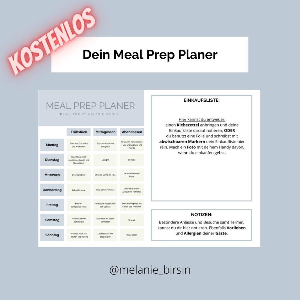 Kostenloser Meal Prep Planer Freebie