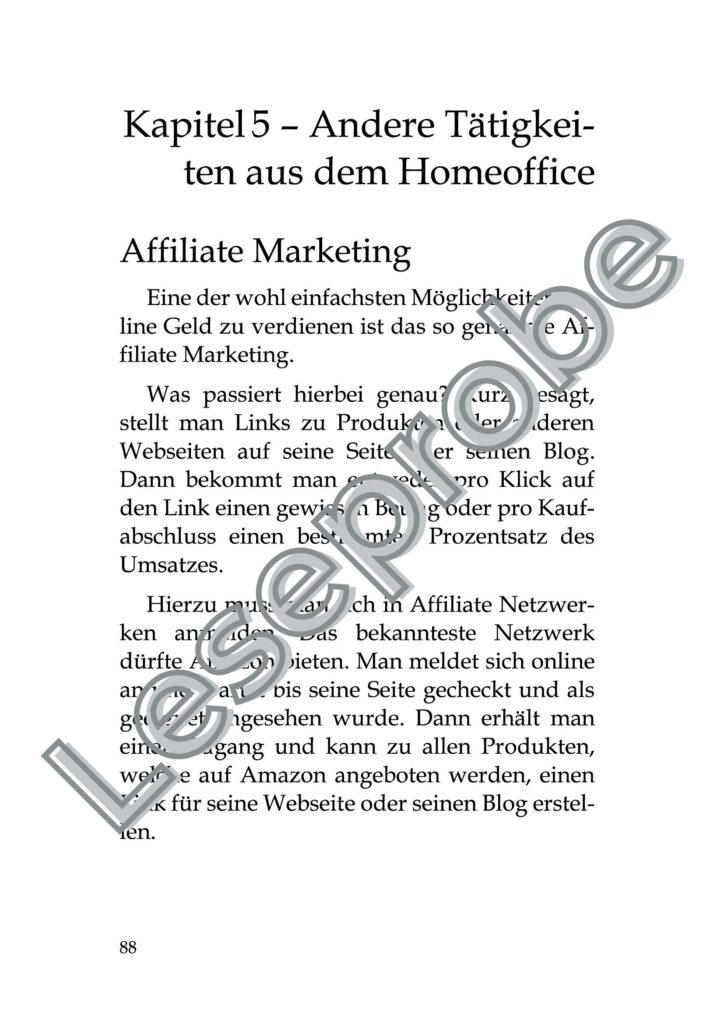 Leseprobe Starte Dein eigenes Online Business Seite 88 Andere Taetigkeiten aus dem Homeoffice