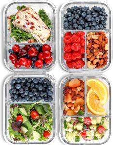 2 & 3 Fächer Glas Meal Prep Behälter [4er Pack, 950 ML]